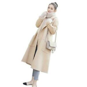 Winter Ladies Woolen Blend Loose Long Trench Coat Parka Jacket Overcoat Outwears