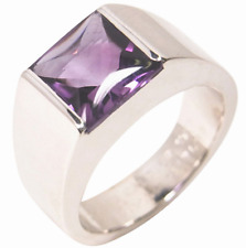 ☆ AUTHENTIQUE BAGUE CARTIER TANK CHEVALIERE AMETHYSTE OR BLANC 750 18K 18 CARAT