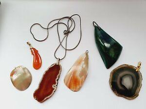 Job Lot Of Vintage Natural Stones Large Pendants, Malachite, Agate +