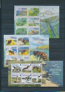XC57981 Alderney insects & birds wildlife sheets MNH