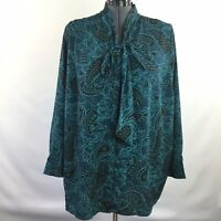 Jessica London Womens Top Button Front Tie Neck Teal Paisley Plus Size 24