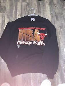 Vintage 90s Chicago Bulls Crewneck Sweatshirt NBA Black Large