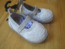 BABY TODDLER GIRL SILVER GLITTER Flats Casual Dress Shoes w/ elastic strap NWT 3