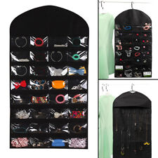 Jewellery Hanging Organiser Large Double-Sided Black Jewelry Storage Bag