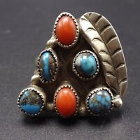 Vintage NAVAJO Sterling Silver CORAL & BISBEE TURQUOISE Cluster RING, size 7.5