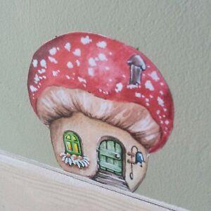 Mushroom house vinyl STICKER- decal, image 85mm x88mm- Hobbit, fairy house