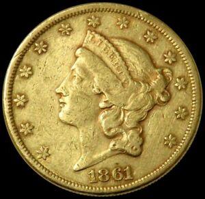 1861 GOLD CIVIL WAR DATE ERA $20 DOLLAR NO MOTTO LIBERTY HEAD DOUBLE EAGLE