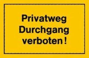 Verbotsschild 250x150mm Privatweg Durchgang verbo Verbotsschilder Hinweis- und W