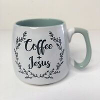 Coffee + Jesus Stoneware Coffee Mug Cup White Green Wide Bottom Cross On Inside