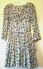ZARA TRF TEA DRESS Mustard DUCK EGG BLUE Floral FLOATY 1940s 50s Sz S 6 8 NEW