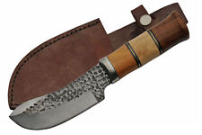 "Hunting Knife | Carbon Steel Blade Wood Handle Skinner 10"" Overall + Sheath"