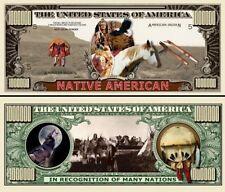 Les INDIENS D'AMERIQUE Billet 1 MILLION DOLLAR US Collection Amérindien Far West