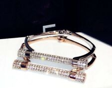 18K Rose Gold Bangle Bracelet made w Swarovski Crystal Pave Stone Designer style