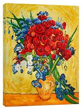 Poppies and Iris Collage by Vincent Van Gogh Re Print On Framed Canvas Wall Art