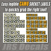 Socket labels.  Sticker decal labels for tools, sockets, wrenches  DIGITAL CAMO