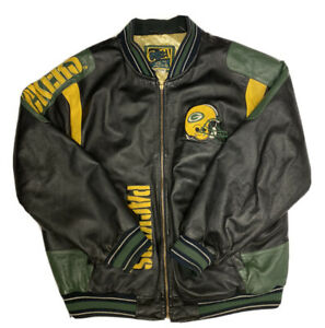 Vintage G-III & Carl Banks Green Bay Packers Men's Leather Jacket Size XL