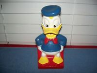 "Vintage Donald Duck Plastic / Vinyl Bank 7 1/2"" Disney"