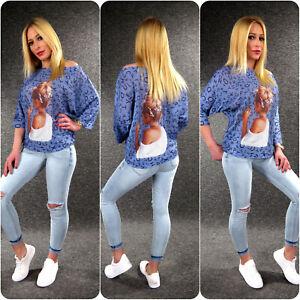 Italy Damen Strickpulli Pullover Print S - XL Zazou Pulli Fledermausärmel Z127
