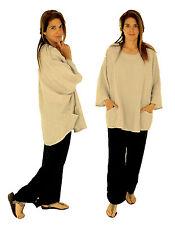 IA900GR Damen Tunika Bluse Leinen Vintage Gr. 46 48 50 52 tragbar grau