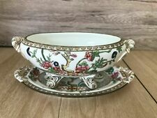 More details for coalport indian tree footed gravy boat with oval plate