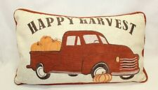 Secret Celebrity Fall Embroidered Throw Pillow Truck Pumpkins Happy Harvest New