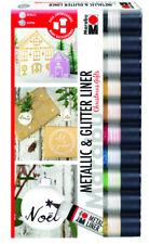 Marabu Metallic Glitter Liner Set Christmas Gifts 10x 25ml bemalen beschriften