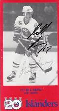 BILL BERG Autographed Signed Team Issued Postcard New York Islanders COA