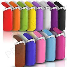 Imán botón Cuero tire ficha Piel Funda bolsa se adapta a varios Nokia móviles
