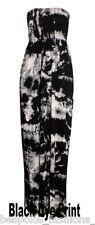 Ladies Womens Tie Dye Shirring Bandeau Maxi Dress Plus & Normal Sizes 8-22 16-18