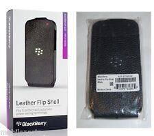 Genuine BlackBerry Q10 Black Leather Flip Shell Case Cover with Proximity Sensor