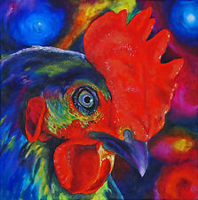 ROOSTER Chicken Farm Bird 8x8 Signed Art PRINT of Original Oil Painting by VERN
