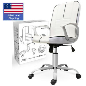 Office Chair Armless, Swivel Office Desk Chair Executive Bonded Leather Comput