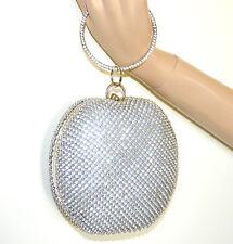 POCHETTE bracciale ARGENTO donna clutch bag cristalli strass borsello sposa G42