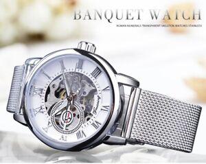 FORSINING Damen Armbanduhr Mechanisch Handaufzug mit Edelstahl Armband