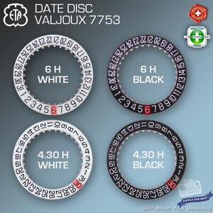 DATE DISC FOR MOVEMENT ETA VALJOUX 7753, 6H + 4.30H: WHITE AND BLACK