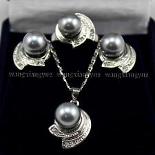 10MM Gray South sea Shell Pearl Earrings Ring & Necklace Pendant Set AAA+