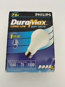 Box of Four (4) Philips DuraMax Light Bulbs Soft White Incandescent 75W A19