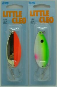 2 Pks.  Acme Tackle LITTLE CLEO - 3/4 oz. - Gold/Fluorescent & Green Alewife