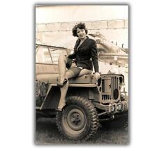 "WW2 Photo jeep willys Girl Sexy Woman Pin up US Nice Glossy Size ""4 x 6"" inch R"