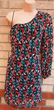 BE BEAU BLACK GREEN ORANGE ABSTRACT PRINT ONE SHOULDER SHIFT SMOCK DRESS M 12