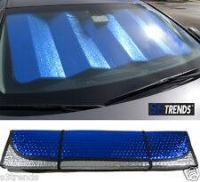 Reversible Chrome & Blue Front Window Windshield Sun Shade Accordion Car Std Sz