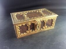 Antique c19th French Gilt Bronze Crocodile Skin Casket Jewellery Trinket Box