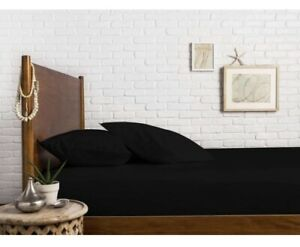 THREAD SPREAD 1000 Thread Count 100% Egyptian Cotton Fitted Sheet Black Queen 15