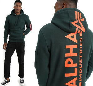 Alpha Industries Remove Before Flight Mens Back Print Hoodie GREEN Size XL