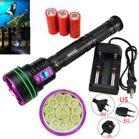 Underwater 120m 45000LM 12x XM-L2 LED Scuba Diving Flashlight Torch 26650/18650