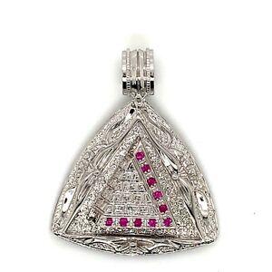 925 Sterling Silver High Polish Mens Ruby Pyramid Pendant Charm 22.3 Grams