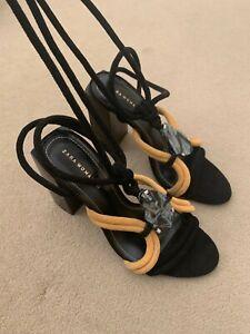 Brand New Zara suede wrap around block heels