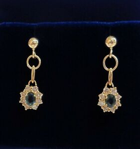 Fine Sapphire and Diamond Drop Earrings 750 (18ct) Yellow Gold - Length 23mm