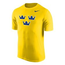 2018 Team Sweden IIFH WJC Dri-Fit Legends Short Sleeves Yellow T Shirt Small