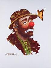 Vintage EMMETT KELLY Sad Clown ART PRINT W. Harold Hancock BUTTERFLY Poster MINT